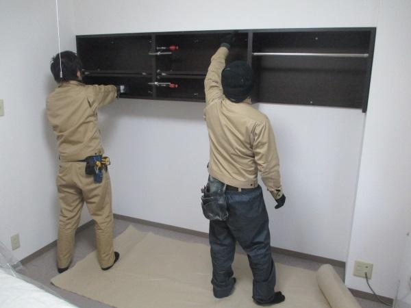 オーダー収納棚設置