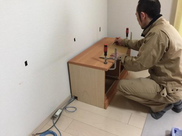 施工中テレビボード